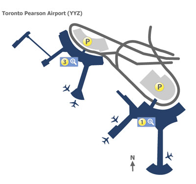 Toronto Pearson Airport YYZ Terminal Maps Map of all terminals