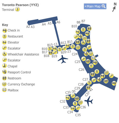 Toronto Pearson Airport YYZ Terminal 3 Map Map of Terminal 3 at